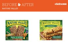 11_26_13_BeforeandAfter_NatureValley. This design looks like a small freshen up but very little has changed much. I do like the new product shot better. You'll often see this type of fresh up with established brands not wanting to risk alienating customers with a whole new look.