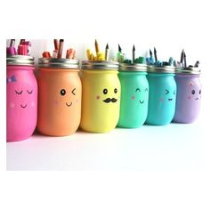 Kawaii Inspired DIY Mason Jar Pen, Marker and Pencil Holders ❤ liked on Polyvore featuring home, home decor and office accessories