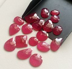 4 Pcs Ruby Chatham Mix Shape Cabochons Red by gemsforjewels