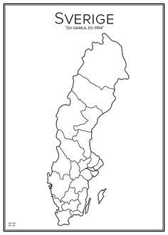 Sweden. Map. City print. Print. Affisch. Tavla. Tryck.