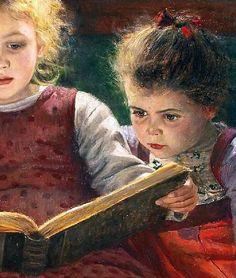 """Dettaglio da """"Il Libro di Fiabe"""" di Walther Firle (Germania 1859 - 1929). Olio su tela, 48 x 67 cm, 1929. Collezione Privata"""