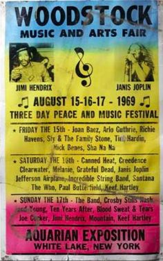 WoodStock- August 15 16 17, 1969 The Woodstock Festival was a three-day concert (which rolled into a fourth day) that involved lots of sex, drugs, and rock 'n roll - plus a lot of mud. The Woodstock Music Festival of 1969 has become an icon of the 1960s hippie counterculture.