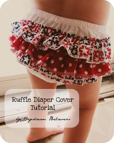 Ruffle Bloomers * Diaper Cover Tutorial < I think i might learn to sew just so i can make these! Sewing For Kids, Baby Sewing, Fabric Sewing, Sewing Hacks, Sewing Tutorials, Sewing Projects, Diy Projects, Sewing Ideas, Couture Bb