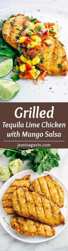 Grilled tequila lime chicken is the ultimate quick and easy recipe for warm summer nights. Each honey lime glazed chicken is topped with fresh mango salsa.