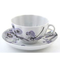 So beautiful! Rare Russian Imperial Lomonosov Porcelain Tea cup and saucer Dragon fly whisper