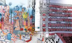 "La Scala, Milano from "" I am Milan"" , illustration book by Carlo Stanga - Moleskine"