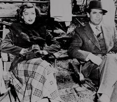 """Myrna Loy and Cary Grant take a break from filming """"Mr. Blandings Builds His a Dream House"""", (1948)."""