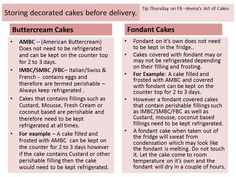 """Tip Thursday - Veena's Art of Cakes. Good Morning my lovelies! Today's """"Tip Thursday' is a very common question, I think most newbies keep asking me about. Should I keep my cake in or out of the fridge? Here's a simple and easy way to understand when and why. i do hope you find it useful. Feel free to share. Have a great Thursday. via Veena's Art of Cakes / FB ↓ http://www.facebook.com/veenaartofcakes"""