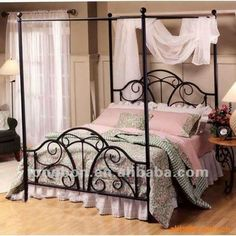 Iron Canopy Bed, Canopy Bed Frame, Canopy Beds, Home Bedroom, Bedroom Decor, Wrought Iron Beds, Steel Bed, Metal Beds, Diy Bed