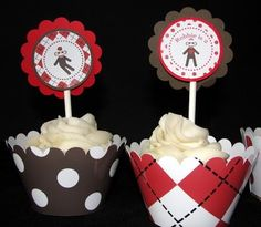 Personalized Boy Sock Monkey Birthday Party Cupcake by thatsawrap2, $12.00