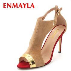 52.06$  Watch now - ENMAYLA Summer Suede Ladies Sandals Women Peep Toe Cover Heels High Heels Sandals Women Mixed Color Shoes Woman Plus Size 47  #magazineonlinewebsite