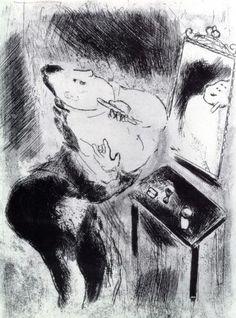 Marc Chagall Chichikov shaves 1923