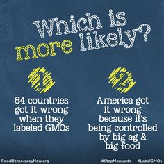 What do you think? www.fooddemocracynow.org #food #labelGMOs #righttoknow #GMOs