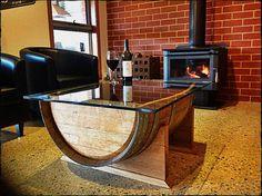 Chêne vin tonneau bois table basse avec plateau par UpcycledWoodOZ