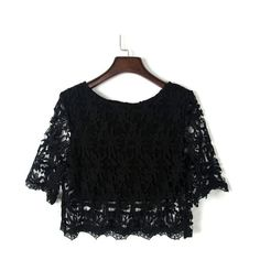 Black Half Sleeve Lace Crochet Cropped Top (260 DKK) ❤ liked on Polyvore featuring tops, macrame top, lace crop top, elbow length tops, lacy tops and elbow sleeve tops