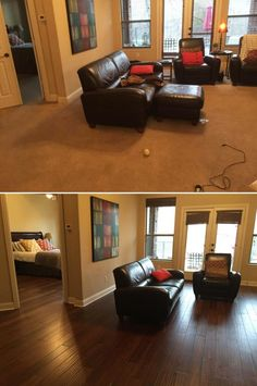 Top Makeovers! Family Room Before & After with Honey Strand Handscraped Bamboo