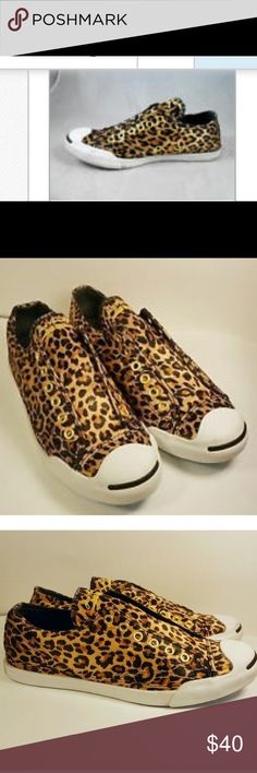 Converse Leopard Laceless Jack Purcell size 6 Converse leopard lace less slip on converse these are such a great pair of sneakers and eye catching you will love them! Gently worn and pre- owned comes from a non smoker and pet free home. Converse Shoes Sneakers