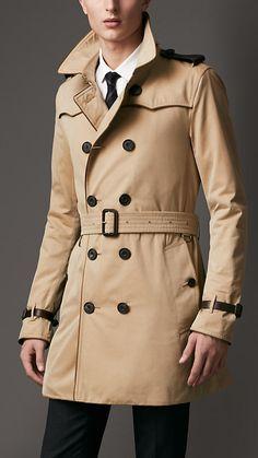 Mid-Length Cotton Gabardine Contrast Detail Trench Coat | Burberry Trench Coat Outfit, Trench Coat Men, New Mens Fashion, Men's Fashion, Fasion, Winter Fashion, Burberry Trench Coat, Mens Winter Coat, Summer Jacket