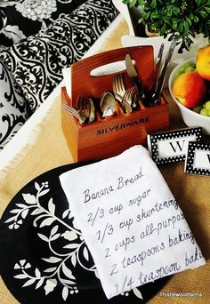 Handwritten recipe towel.  This would make a great gift.