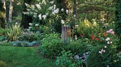 Lovely Layers | At Stamm and Booher's own garden on Shelter Island, colorful blooms play off dense evergreen plants.