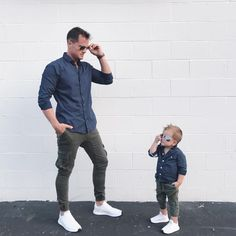 21 Father and Son Matching Outfits to Look Similar - Outfit & Fashion Daddy And Son, Father And Son, Baby Boy Fashion, Kids Fashion, Fashion Outfits, Men's Fashion, Baby Boy Swag, Baby Boys, Father Son Matching Outfits
