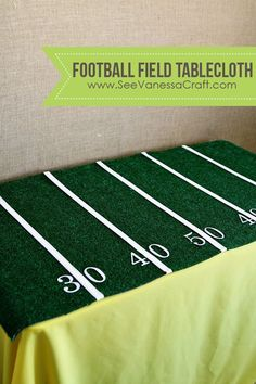 30 Cool DIY Ideas for The Sports Fan In Your Life Nice football field tablecloth craft project idea Football Banquet, Football Themes, Football Field, Football Decor, Football Party Decorations, Football Parties, Football Season, Gender Reveal Football, Football Centerpieces