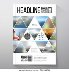 Business template for brochure, flyer or booklet. Abstract multicolored background of blurred nature landscapes, geometric vector, triangular style illustration.