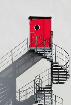Spiral staircase with negative space. Love the red door Affinity Photo, Minimalist Photography, Stairway To Heaven, Spiral Staircase, Interior Exterior, Interior Design, Light And Shadow, Stairways, Belle Photo
