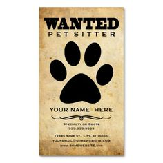 Wanted : pet sitter business card templates