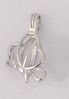 5Pcs Locket Cage Pendant - Butterfly shape Pearl/ Gem Locket, Flower Fairy Elf - Necklaces & Pendants