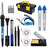 Vastar AC222 Soldering Iron Kit 16 in 1 60W Welding Soldering Iron Temperature Adjustable with On/Off Switch Soldering Tips Desoldering Pump Soldering Wire Soldering Station Anti-static Tweezers