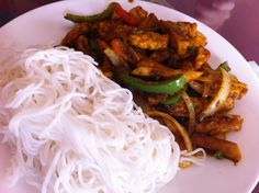 Vietnamese tofu with rice noodle