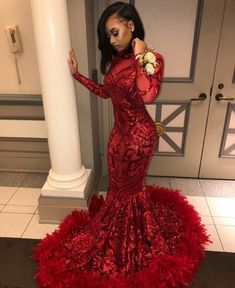 2019 Red Long Sleeve Mermaid African Prom Dresses with Feathers Train High Neck Elegant Black Girls Plus Size Evening Gala Gowns Black Girl Prom Dresses, African Prom Dresses, Senior Prom Dresses, Cute Prom Dresses, Prom Outfits, Prom Dresses Long With Sleeves, Prom Dresses Online, Mermaid Prom Dresses, Ball Dresses