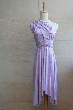 Bridesmaid Dress Infinity Dress Lilac Knee Length Wrap Convertible Dress Wedding Dress. $30.00, via Etsy.