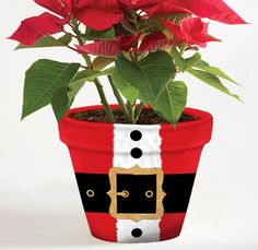 "6 Inch Holiday Flower Pot Cover - 6"" Santa Pot Sox #holidaygift #poinsettia #santa #makeyourplantshappy $3.99"