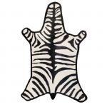 Black Zebra Peruvian Llama Flat Weave Rug