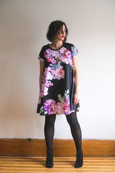Ebony Tee pattern //Raglan sleeve swing dress pattern in scuba knit // Closet Case Patterns