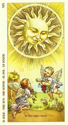 The Sun - Albrecht Dürer Tarot by Giacinto Gaudenzi - Situsku Albrecht Durer, Art Soleil, The Sun Tarot Card, Yi King, Art Carte, Free Tarot, Sun Moon Stars, Sun Art, Hippie Art