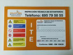 Placa de inspección técnica de estanterías industriales en Tenerife