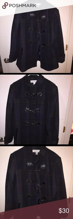 Plaid Wool Coat Original cost $120, only worn once. Navy and green plaid wool coat. Silk inside with a zipper and button hooks on the outside Liz Claiborne Jackets & Coats Pea Coats