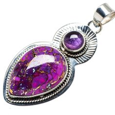 "Ana Silver Co Purple Copper Composite Turquoise, Amethyst 925 Sterling Silver Pendant 2 1/4"" PD610701"