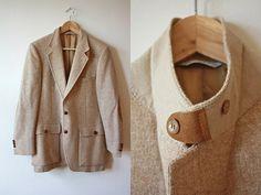 Tan Tweed Sportcoat Suede Leather Elbow Pads Details Mens Vintage
