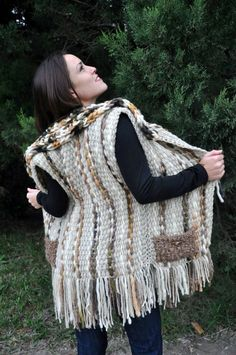 Weave then crochet around neck line and add pockets Weaving Textiles, Tapestry Weaving, Loom Weaving, Hand Weaving, Crochet Coat, Crochet Clothes, Peg Loom, Crochet Shawls And Wraps, Weaving Projects