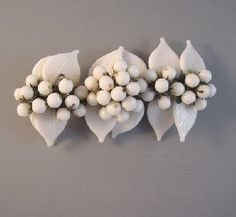 Haskell Hess white glass beads bar brooch