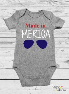 Order before it is too late! Made in 'Merica - of July Onesie - Made in America - First Fourth Outfit - Fourth of July Baby - of July Baby - Made in Merica Baby Baby Boy Shoes, Baby Boy Outfits, Baby Shirts, Kids Shirts, Funny Shirts, July Baby Announcement, Fourth Of July Shirts, July 4th, Boy Onesie