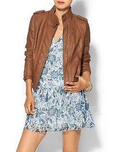 Hive & Honey Gabriella Collarless Vegan Leather Jacket | Piperlime  I like the edgy combo…although the dress on the model would be too short for me…but because I'm short this would probably fit just right