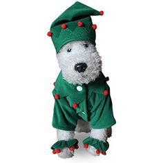 Powerfulline Pet Costume Dog Christmas Halloween Elf Style Pom Pom Decor Clothes Apparel size XL (Green with red) >>> Click on the image for additional details. (This is an affiliate link) #DogApparelAccessories