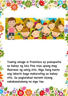Teacher Fun Files: Maikling Kwento: Si Francisco Magalang Moral Stories For Kids, Short Stories For Kids, Kids Story Books, Reading Comprehension For Kids, Reading Passages, English Story, Reading Practice, Classroom Walls, Reading Worksheets