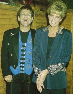 May 13, 1993: Princess Diana with friend Elton John after attending his concert in London.