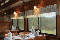 www.conwayscenic.com.  This is our Dining Car Chocorua, set for dinner.  Talk about a room with a view!